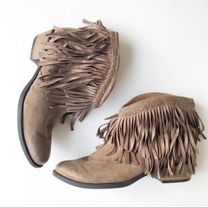 Altar'd State Brown Western Fringe Booties